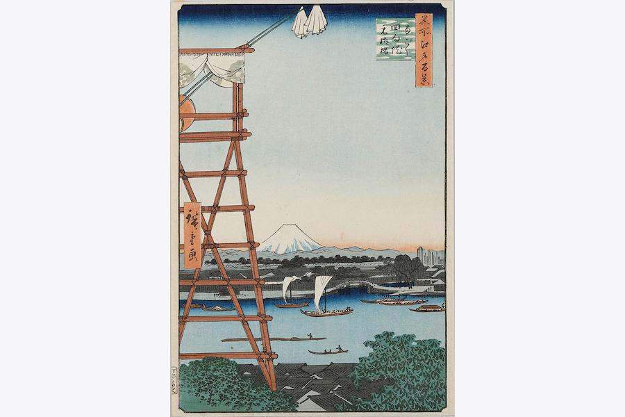 名所江戸百景 両ごく回向院元柳橋 歌川広重(初代)画 安政4年(1857)
