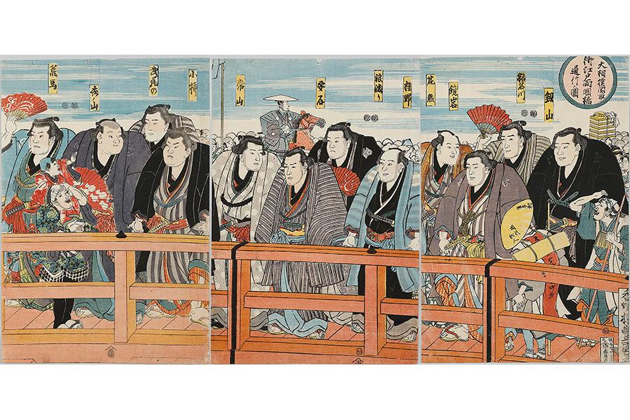 大相撲関取御江戸両国橋通行ノ図(部分) 歌川豊国(3代)画 弘化4年(1847)